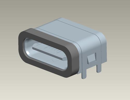 Waterproof Type C connector 16PIN/板上/防水款/外殼4DIP 產品圖